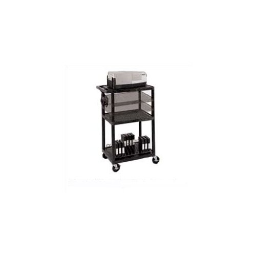 Luxor Open Shelf AV Cart with Locking Cabinet