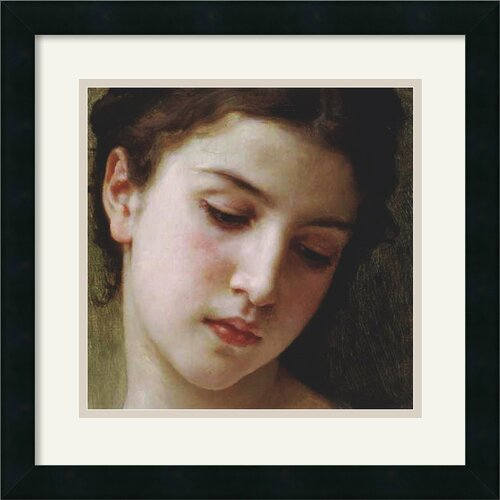 'Head Study of a Young Girl' by William Adolphe Bouguereau Framed Painting Print