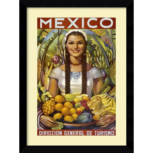 Senorita with Fruit Framed Art Print Framed Vintage Advertisement