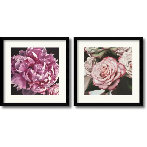 Amanti Art 'Peony and Vintage Rose' by Elizabeth Hellman 2 Piece Framed Photographic Print Set
