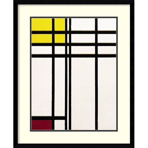 Amanti Art 'Opposition of Lines Red and Yellow' by Piet Mondrian Framed Painting Print