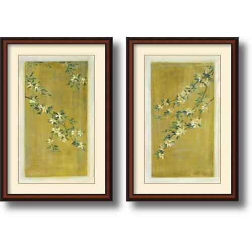 'Plum Blossoms' by Paris Gerrard 2 Piece Framed Painting Print Set