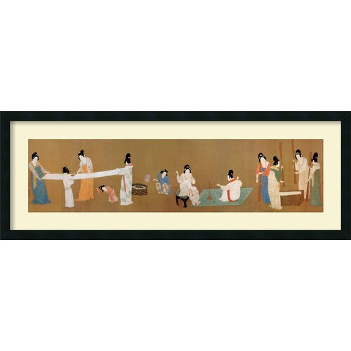 'Court Ladies Preparing Newly Woven Silk' by Emperor Huizong Framed Painting Prints