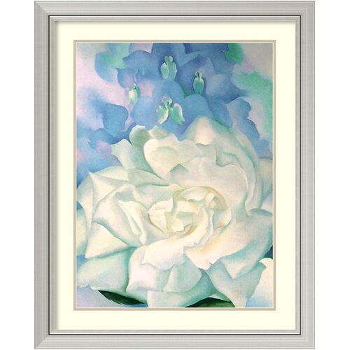 'White Rose with Larkspur No.2' by Georgia O'Keeffe Framed Art Print