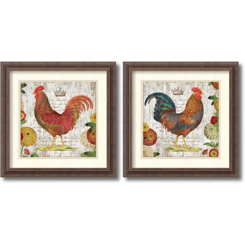 'Rooster' by Suzanne Nicoll 2 Piece Framed Painting Print Set