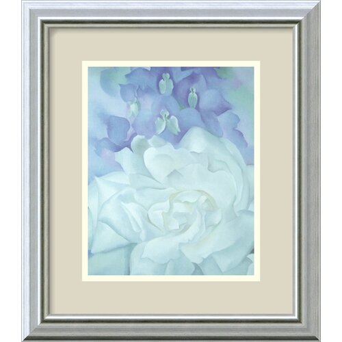 Amanti Art 'White Rose with Larkspur No. 2' by Georgia O'Keeffe Framed Painting Print