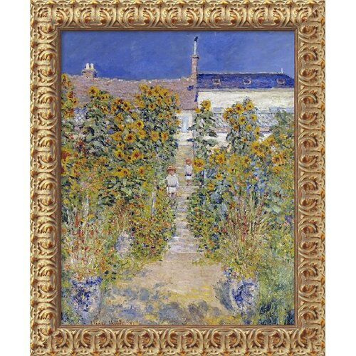 'The Artist's Garden at Vetheuil, 1880' by Claude Monet Framed Painting Print
