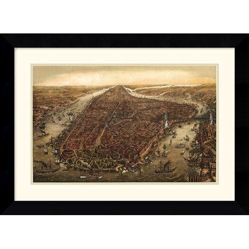 Amanti Art 'New York, 1873' by Ward Maps Framed Painting Print