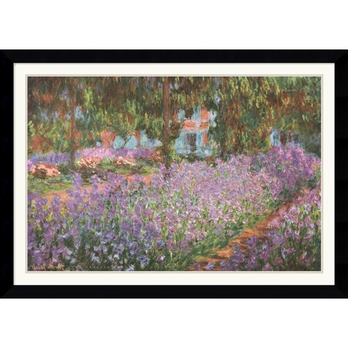 Amanti Art 'The Artist's Garden at Giverny, 1900' by Claude Monet Framed Painting Print