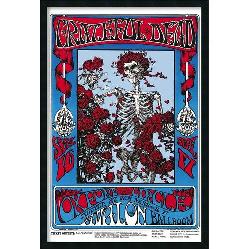 Family Dog Grateful Dead Skeleton and Roses Framed Graphic Art