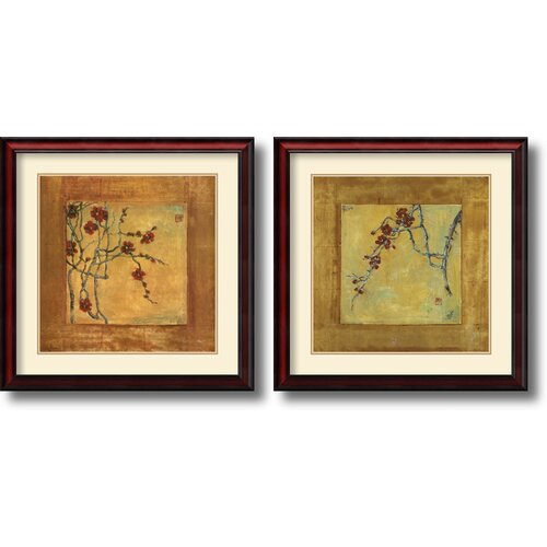 'Chinese Blossoms' by Jill Barton 2 Piece Framed Painting Print Set