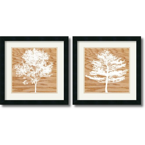 Amanti Art 'Wood Silhouette' by Erin Clark 2 Piece Framed Painting Print Set