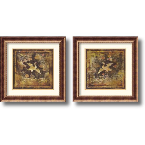 'Birds of Paradise' by Georgie 2 Piece Framed Painting Print Set