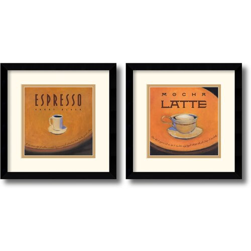 Amanti Art 'Espresso and Mocha Latte' by Jillian David Design 2 Piece Framed Vintage Advertisement Set