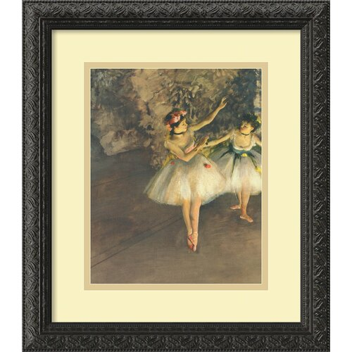 'Two Dancers on Stage' by Edgar Degas Framed Painting Print