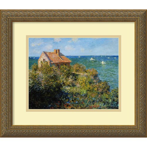 Amanti Art 'Fishermans Cottage on the Cliffs at Varengeville' by Claude Monet Framed Painting Print