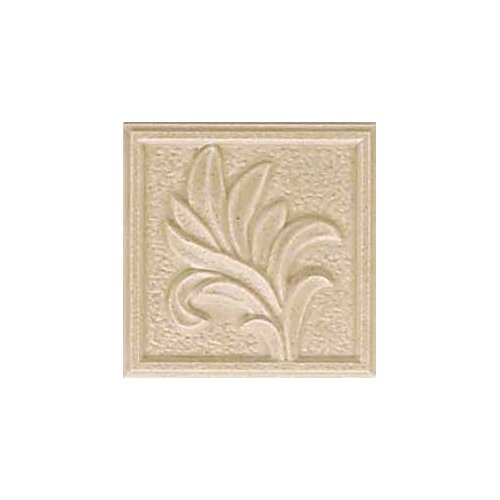 "American Olean Ash Creek 3"" x 3"" Glazed Ceramic Flora Insert Tile in Almond"