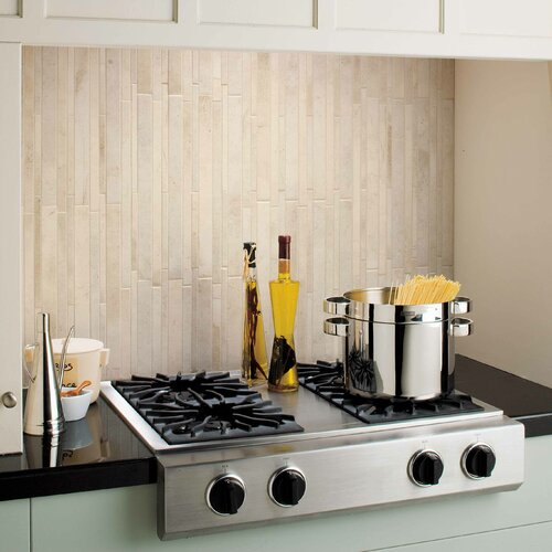 Costa Rei Random Sized Glazed Interlocking Decorative Accent Tile in Pietra Bianco