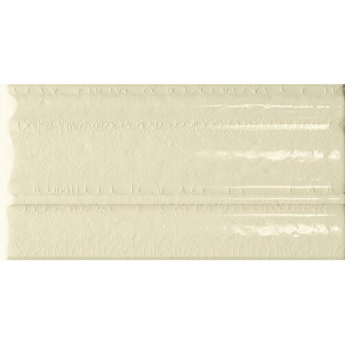 "Emser Tile Cape Cod 9"" x 5"" Crown Base Molding Stop Left Tile Trim in Artisan Cream Crackle"