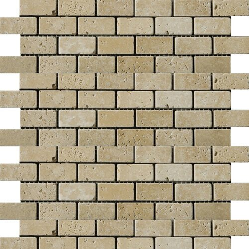 """Emser Tile Natural Stone 2"""" x 1"""" Fontane Travertine Offset Mosaic in Ivory Classic"""