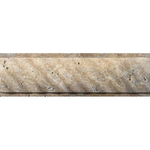 "Emser Tile Natural Stone 12"" x 4"" Fontane Ritz Molding in Walnut"
