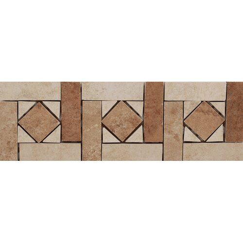 "Emser Tile Agra 13"" x 4"" Glazed Porcelain Tile Listello in Multicolor"