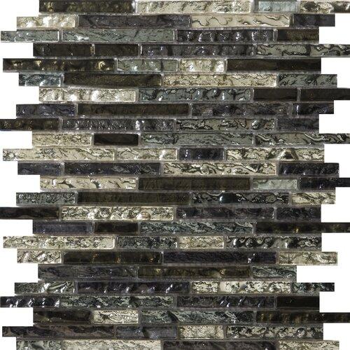 Emser Tile Vista Random Sized Glass Mosaic in Freddo Linear Blend
