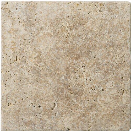 "Emser Tile Natural Stone 4"" x 4"" Fontane Tumbled Travertine Tile in Walnut"