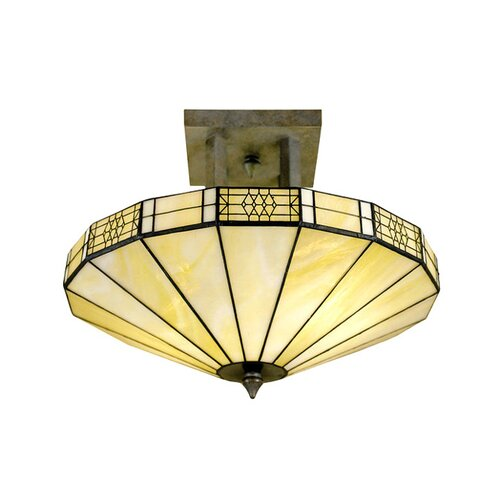 Chloe Lighting Tiffany Style Mission 2 Light Semi Flush Mount