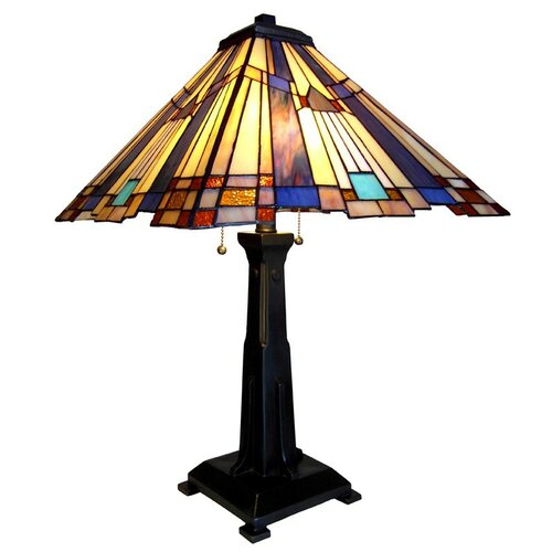 "Chloe Lighting Marvel Mosaic Mission 24"" H Table Lamp with Square Shade"
