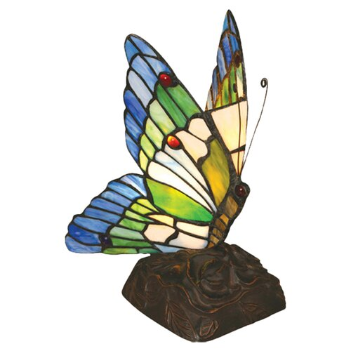 "Chloe Lighting Tiffany Butterfly 10"" H Table Lamp with 99 Glass Pieces"