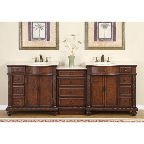 "Silkroad Exclusive Butler 90.25"" Double Bathroom Vanity Set"