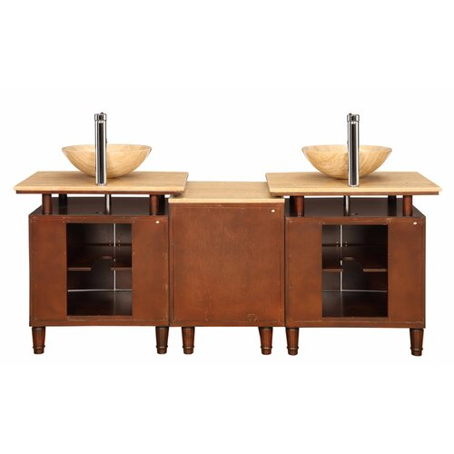 "Silkroad Exclusive Lydia 73"" Double Sink Bathroom Vanity Set"