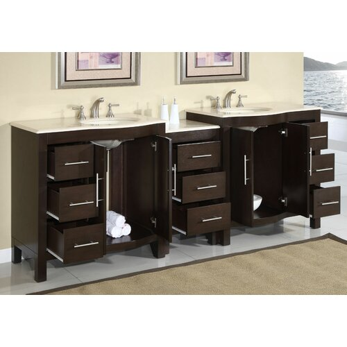 "Silkroad Exclusive Kimberly 89"" Double Sink Bathroom Vanity Set"