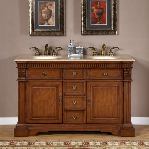 "Silkroad Exclusive Windham 55"" Double Bathroom Vanity Set"