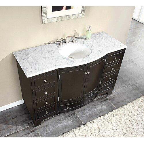 """Silkroad Exclusive Naomi 55"""" Single Sink Cabinet Bathroom Vanity Set"""
