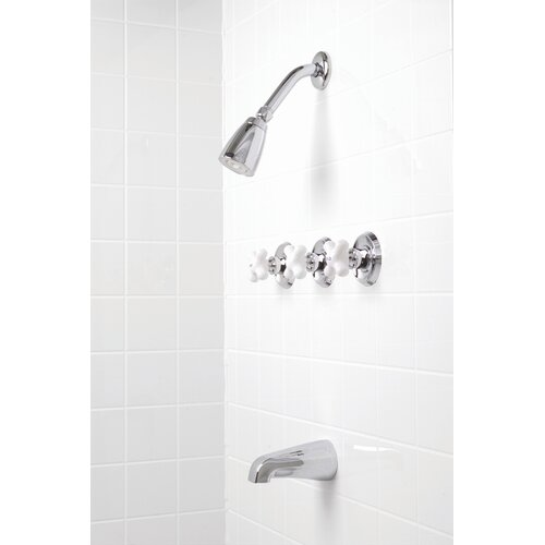 Premier Faucet Ashbury Three-Handle Volume Control Tub and Shower Faucet with Cross Handles