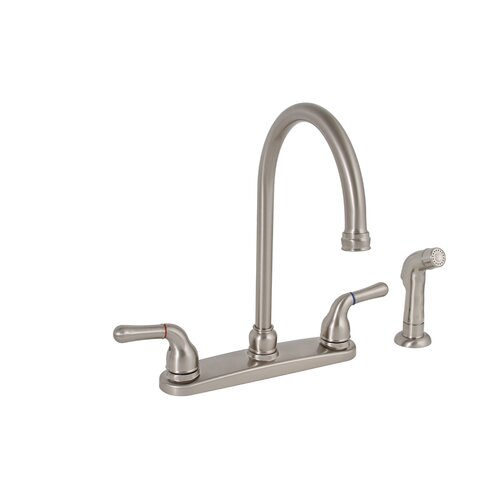 Sanibel Two Handle Centerset High Arch Kitchen Faucet with Matching Spray