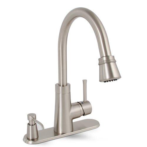 Premier Faucet Essen Single Handle Pull Down Kitchen Faucet With Soap Dispenser Reviews Wayfair
