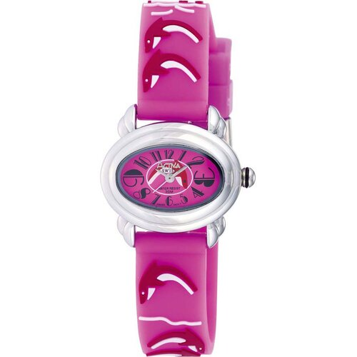 Juniors Dolphin Design Watch in Dark Pink