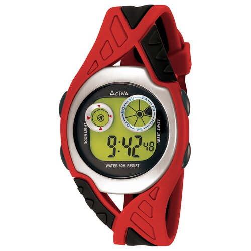 Midsize Digital Watch in Red and Black