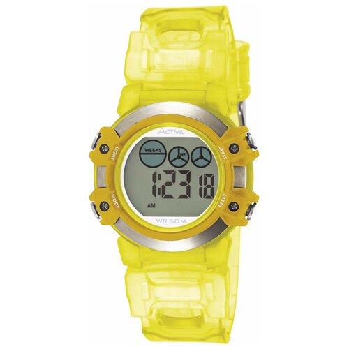Midsize Plastic Digital Watch with Yellow Strap
