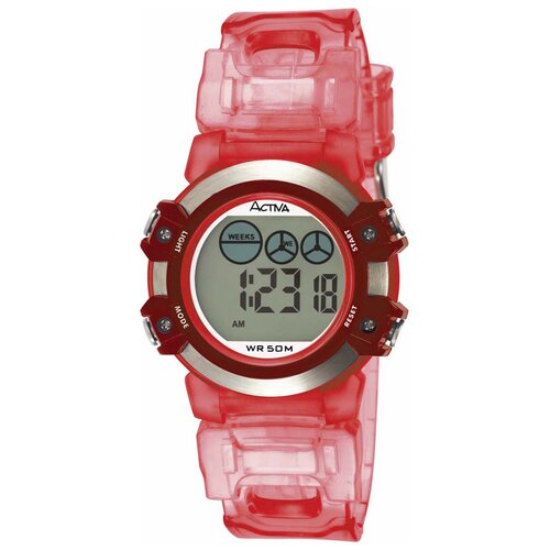 Women's Plastic Digital Watch in Pink and Red