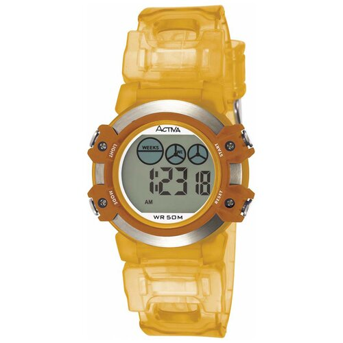 Activa Watches Midsize Plastic Digital Watch in Orange and Silver