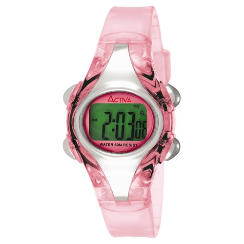 Women's Plastic Digital Multi-Function Watch in Light Pink