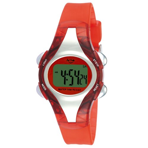 Women's Plastic Digital Multi-Function Watch with Red Strap