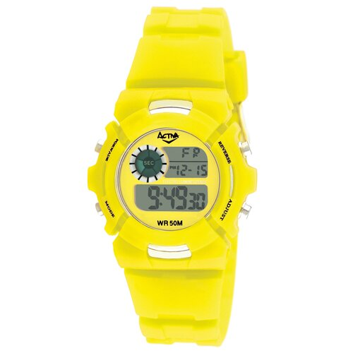 Midsize Plastic Digital Multi-Function Watch with Yellow Strap