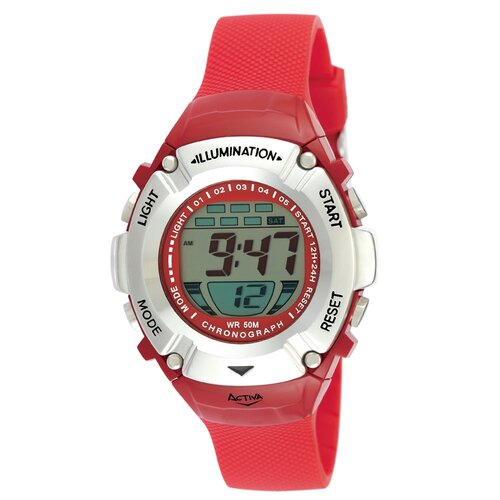 Midsize Digital Watch in Red Plastic Watch