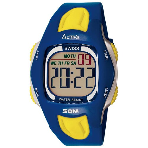 Activa Watches Men's Digital Multi-Function Watch in Blue and Yellow