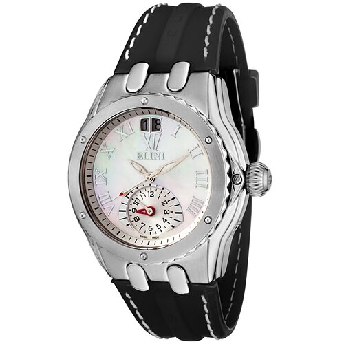 Elini Women's Genesis Dual Time Watch in Black Silicone